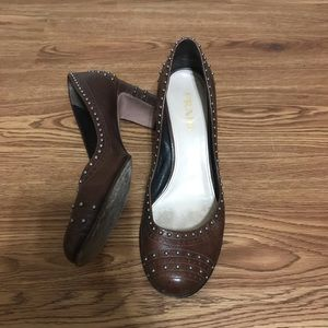Classic Prada Brown Leather Stud Detail Block Heel